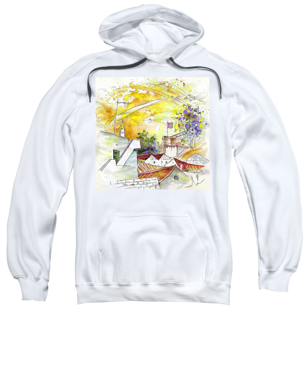 Water Colour Travel Sketch Castro Marim Portugal Algarve Miki Sweatshirt featuring the painting Castro Marim Portugal 03 by Miki De Goodaboom
