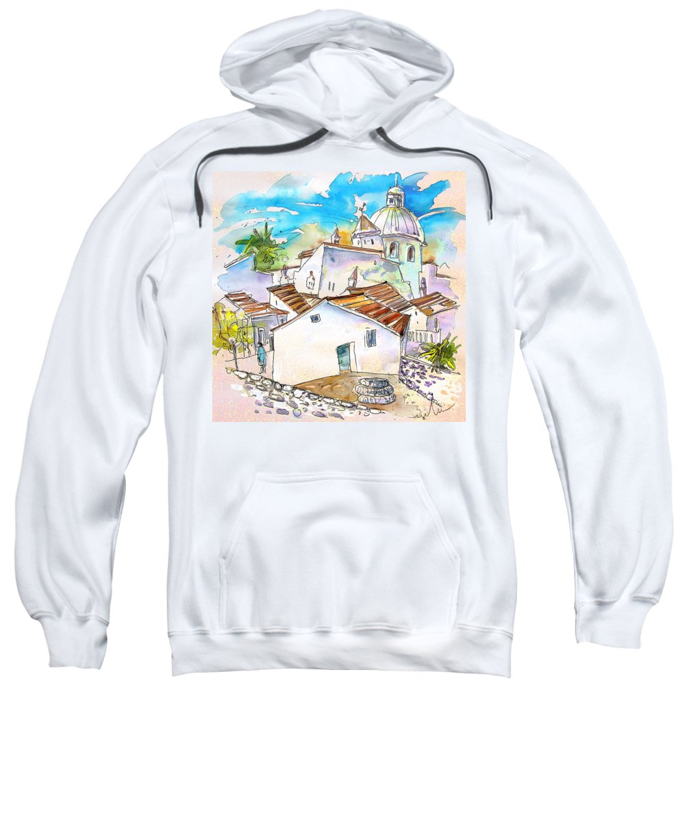 Water Colour Travel Sketch Castro Marim Portugal Algarve Miki Sweatshirt featuring the painting Castro Marim Portugal 05 by Miki De Goodaboom