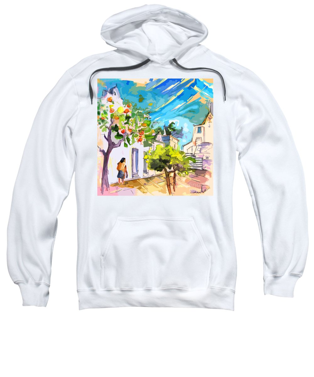 Castro Marim Portugal Algarve Painting Travel Sketch Sweatshirt featuring the painting Castro Marim Portugal 15 Bis by Miki De Goodaboom