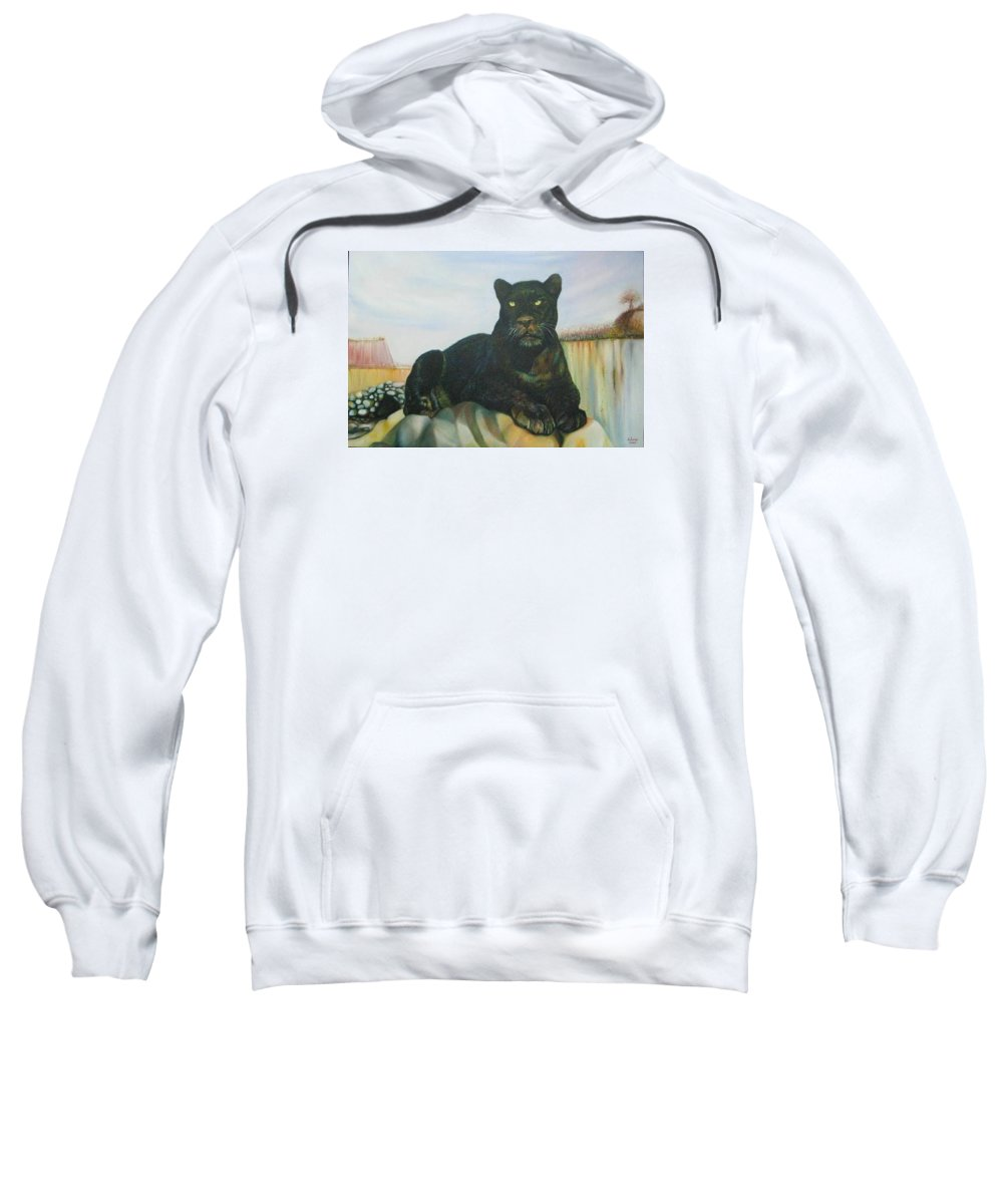 Cat Sweatshirt featuring the painting Cat And The Cave by Sukalya Chearanantana