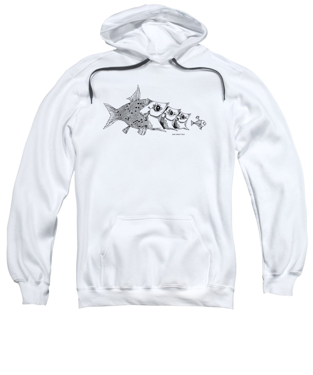 Innovation Sweatshirt featuring the drawing Catch Me If You Can by Mike Bogatyrev