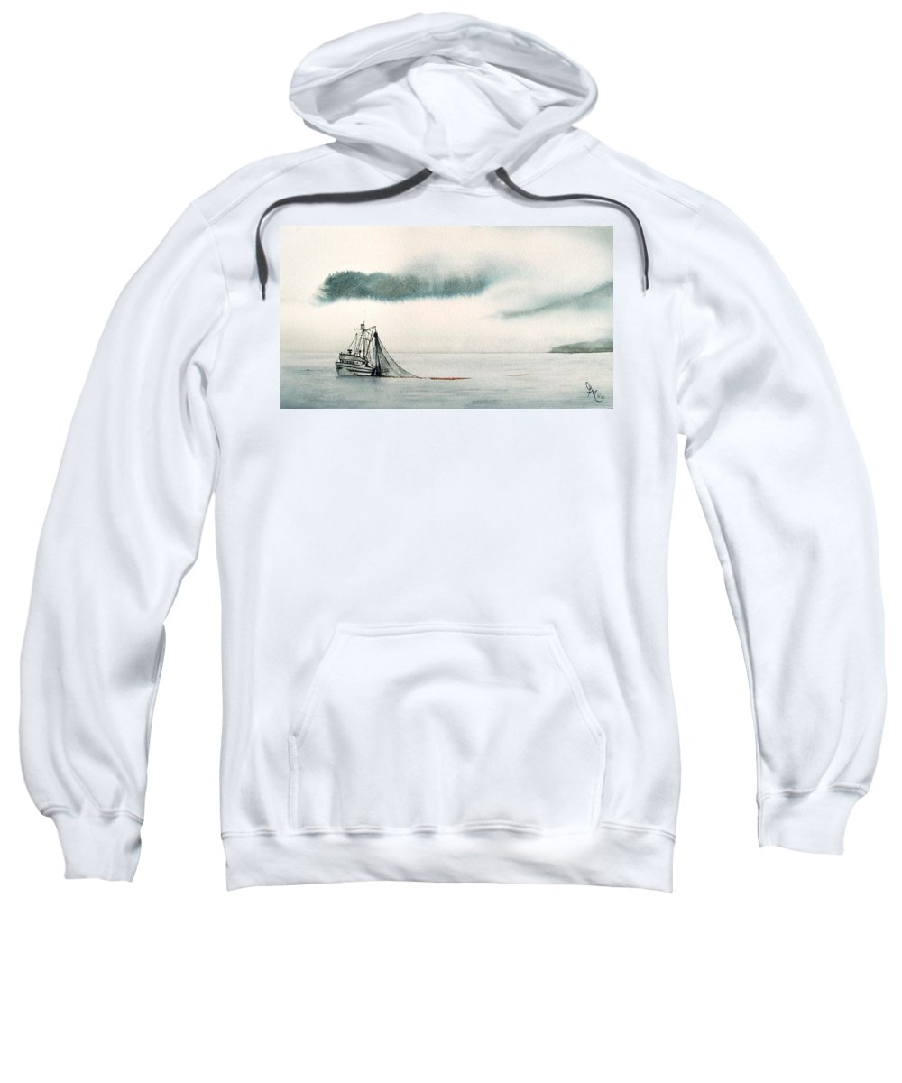 Fishing Boat Sweatshirt featuring the painting Catch Of The Day by Gale Cochran-Smith