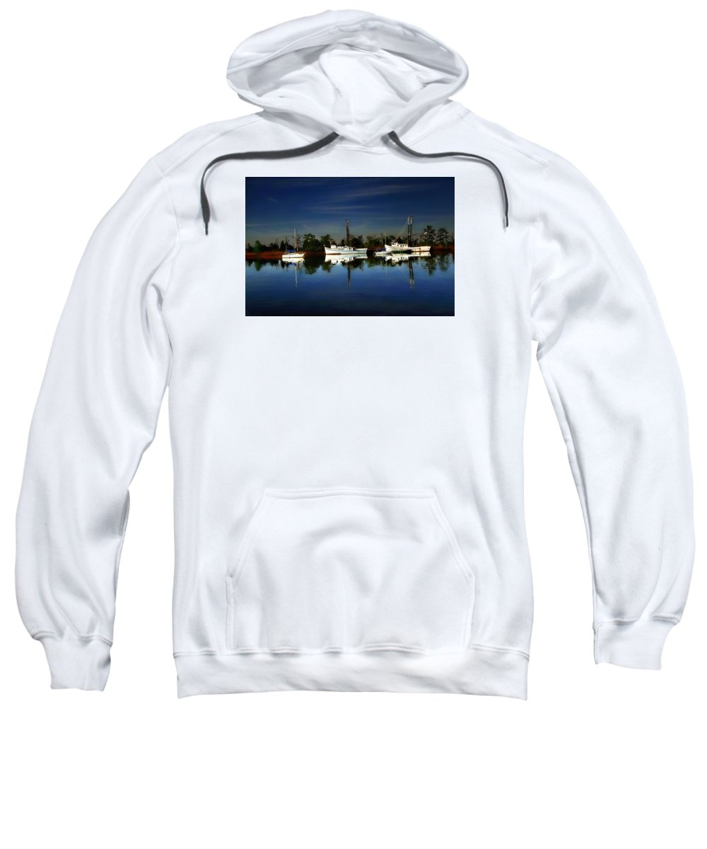 Shrimp Boat Sweatshirt featuring the photograph Catching The Morning Tide by Larry Mccrea
