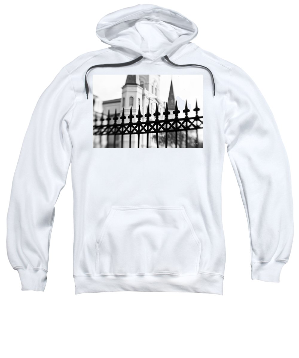 St. Louis Cathedral Sweatshirt featuring the photograph Catheral Basilica - Bw by Scott Pellegrin