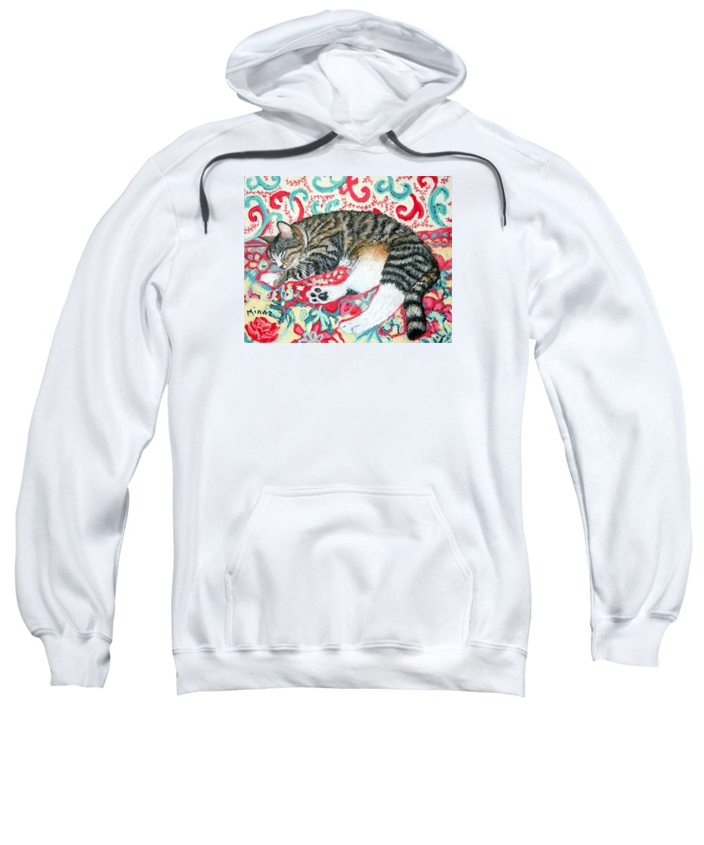 Cat Sweatshirt featuring the painting Catnap Time by Minaz Jantz