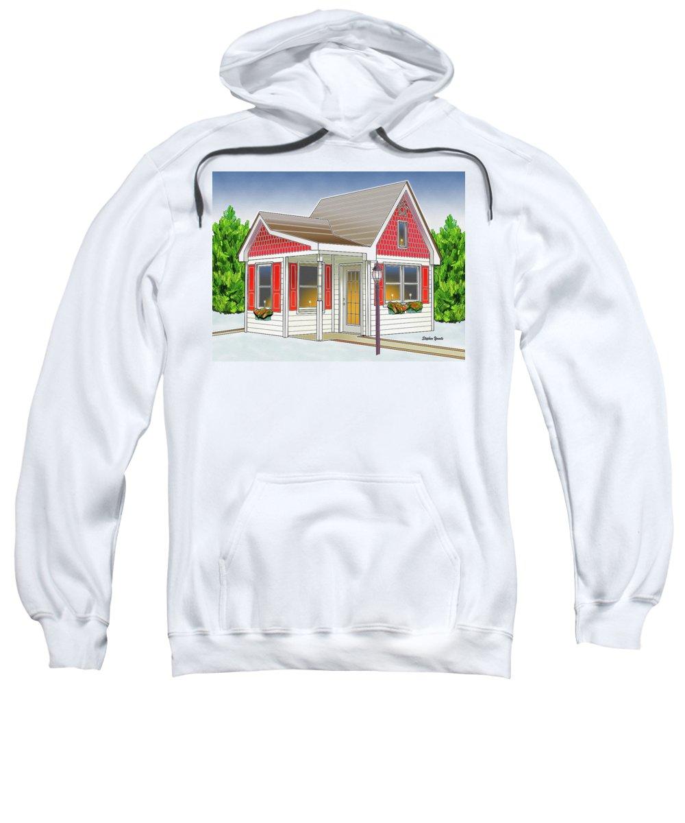 Catonsville Sweatshirt featuring the digital art Catonsville Santa House by Stephen Younts