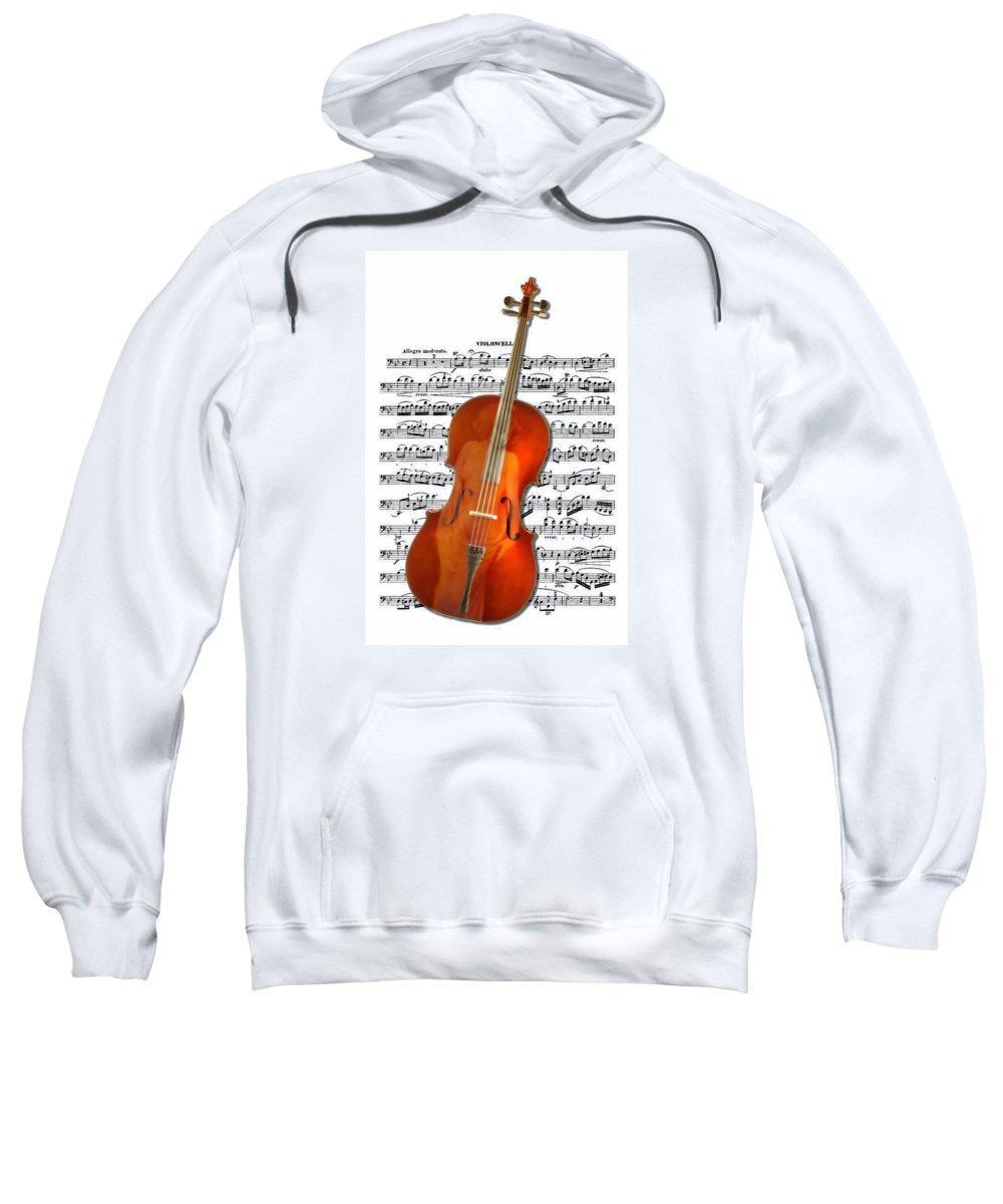 Woman Sweatshirt featuring the digital art Cello With Clara Bow by John Haldane
