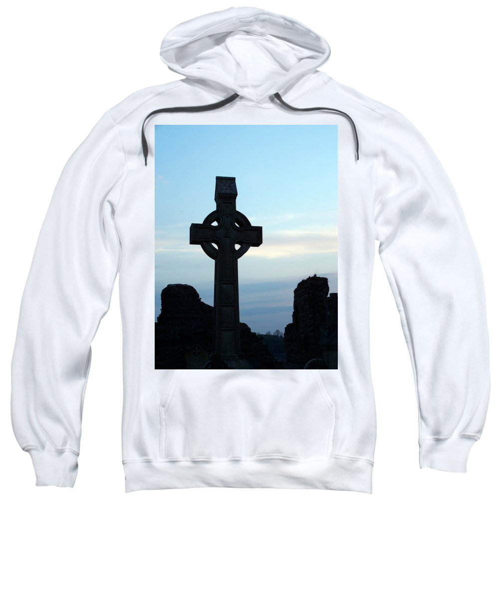 Irish Sweatshirt featuring the photograph Celtic Cross At Sunset Donegal Ireland by Teresa Mucha