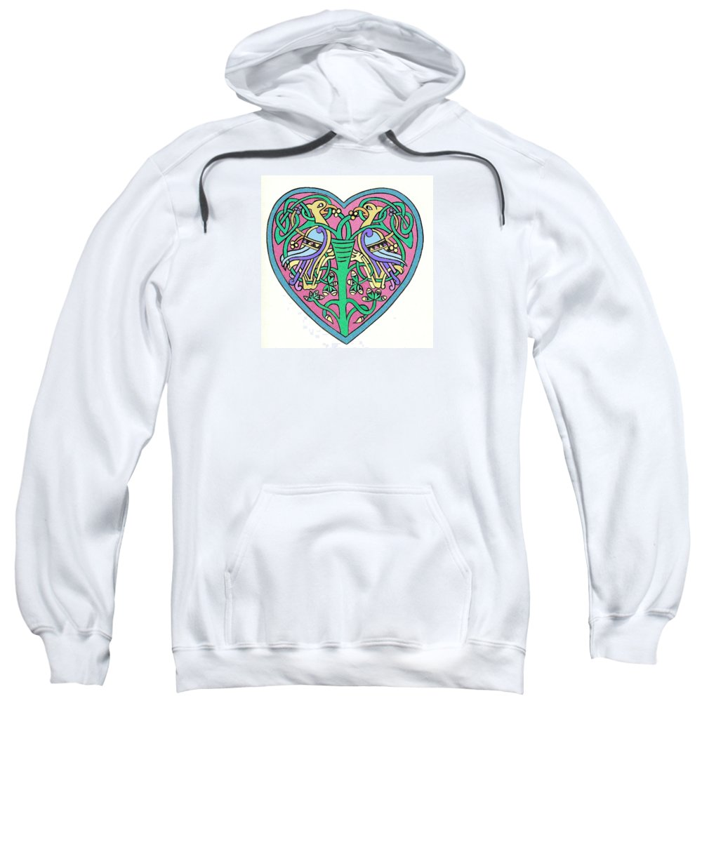Celtic Sweatshirt featuring the painting Celtic Heart by Frances Gillotti