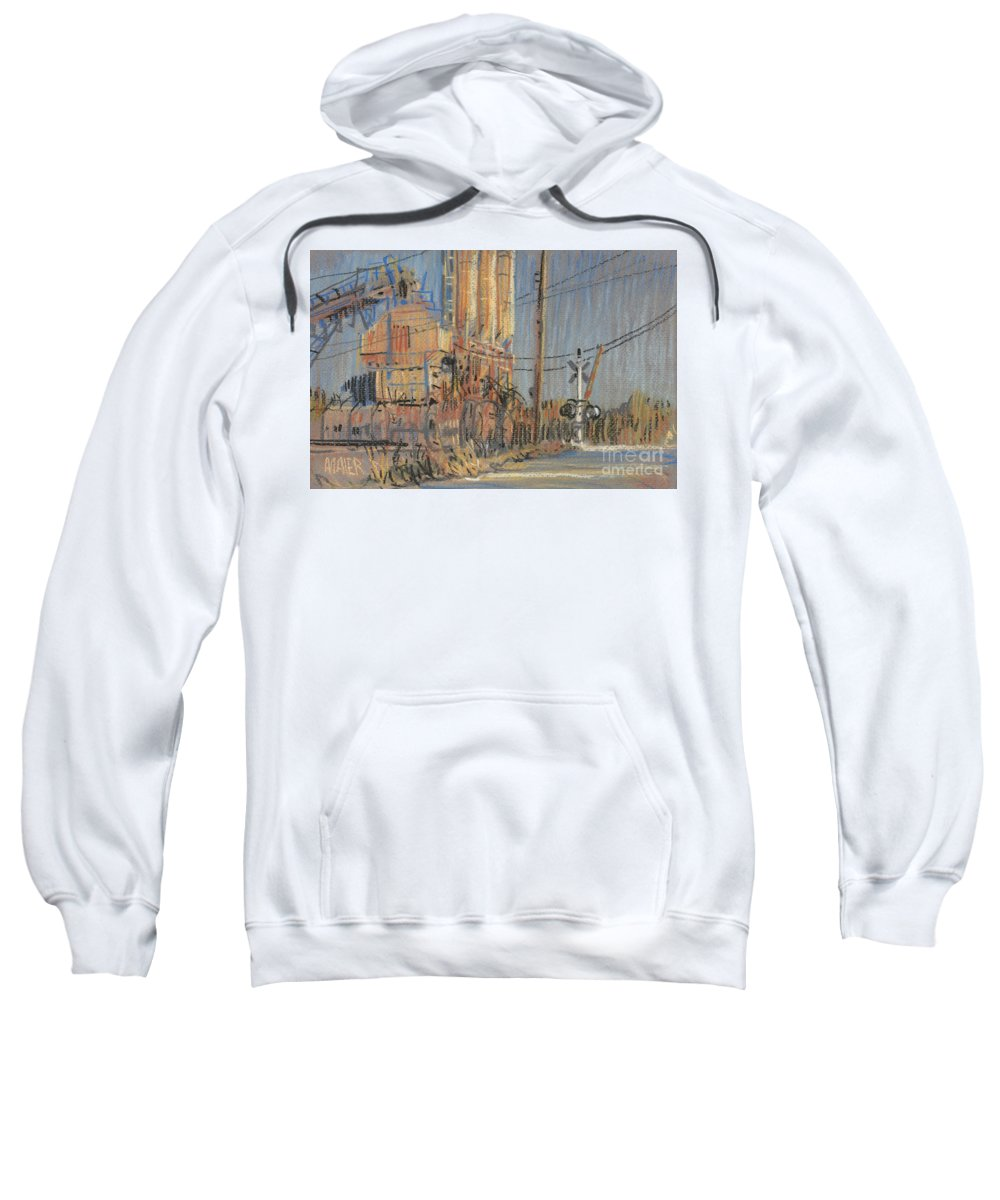 Cement Sweatshirt featuring the drawing Cement Hopper by Donald Maier