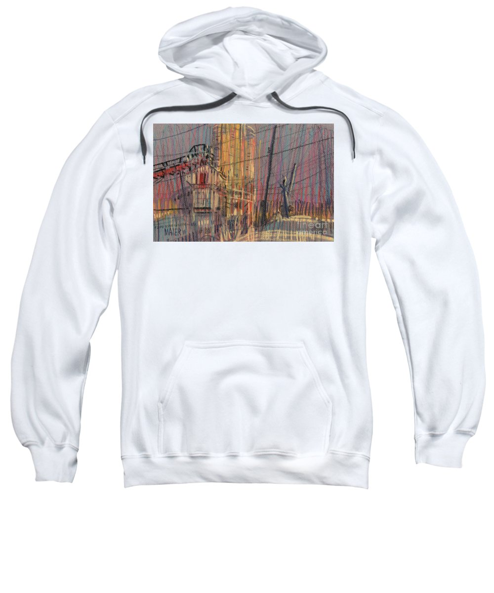 Pastel Sweatshirt featuring the drawing Cement Hopper II by Donald Maier