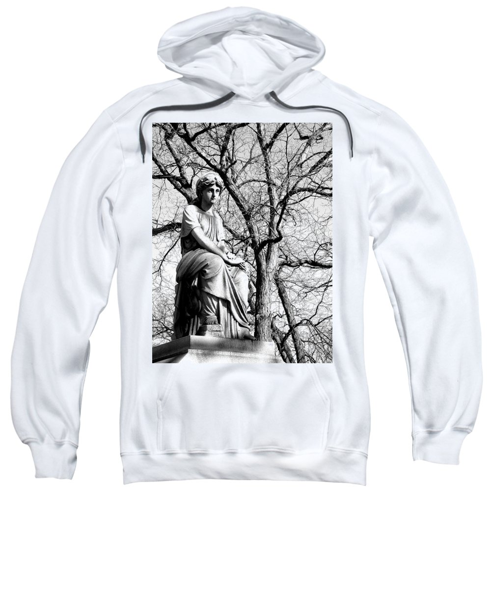 Cemetary Sweatshirt featuring the photograph Cemetary Statue B-w by Anita Burgermeister