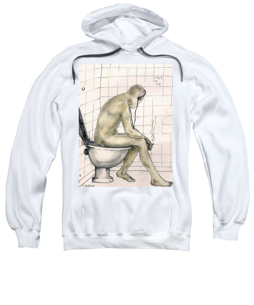 Life Naked Music Sweatshirt featuring the drawing C'est La Vie by Veronica Jackson