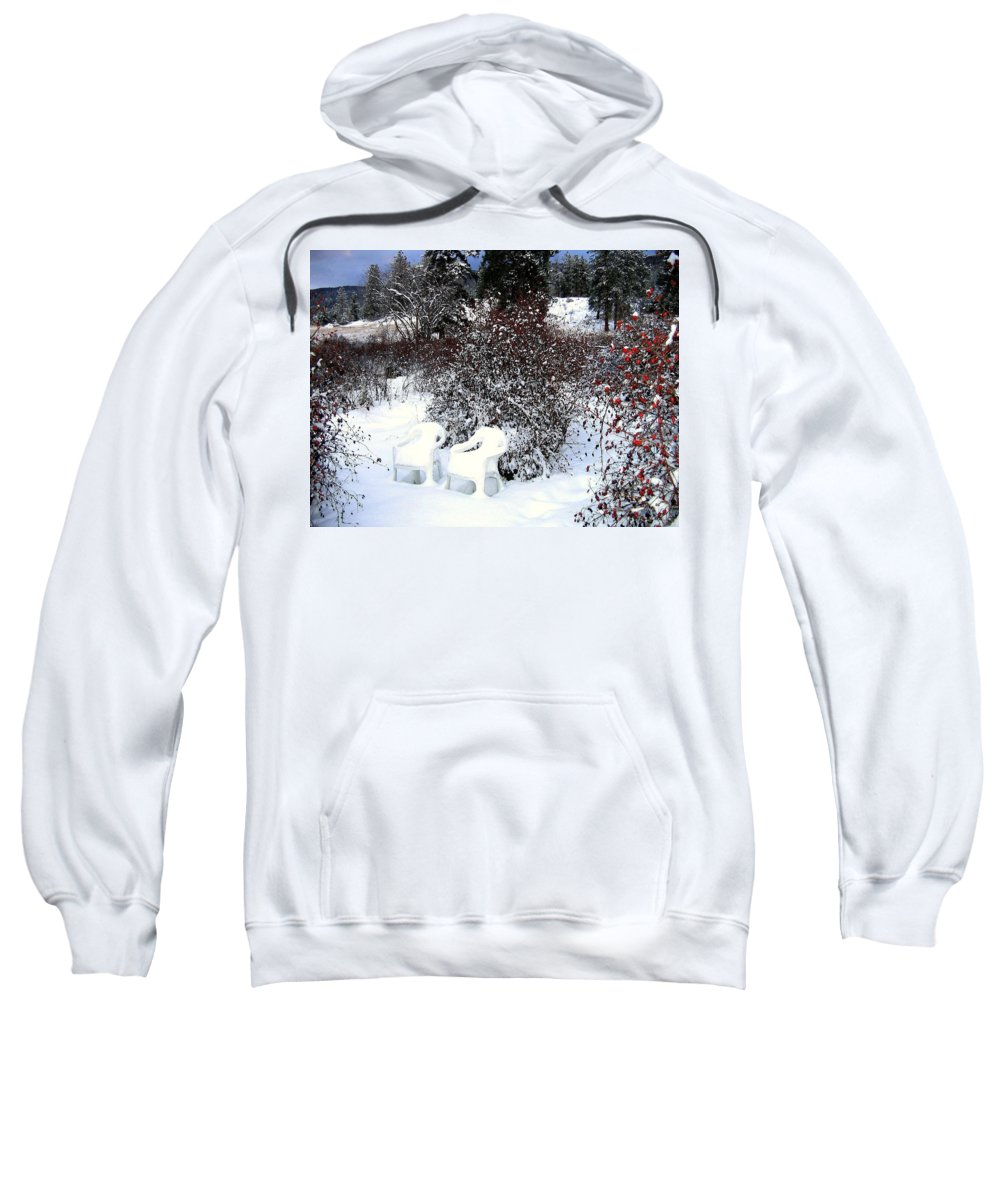 Winter Sweatshirt featuring the photograph Chairs For Two by Will Borden