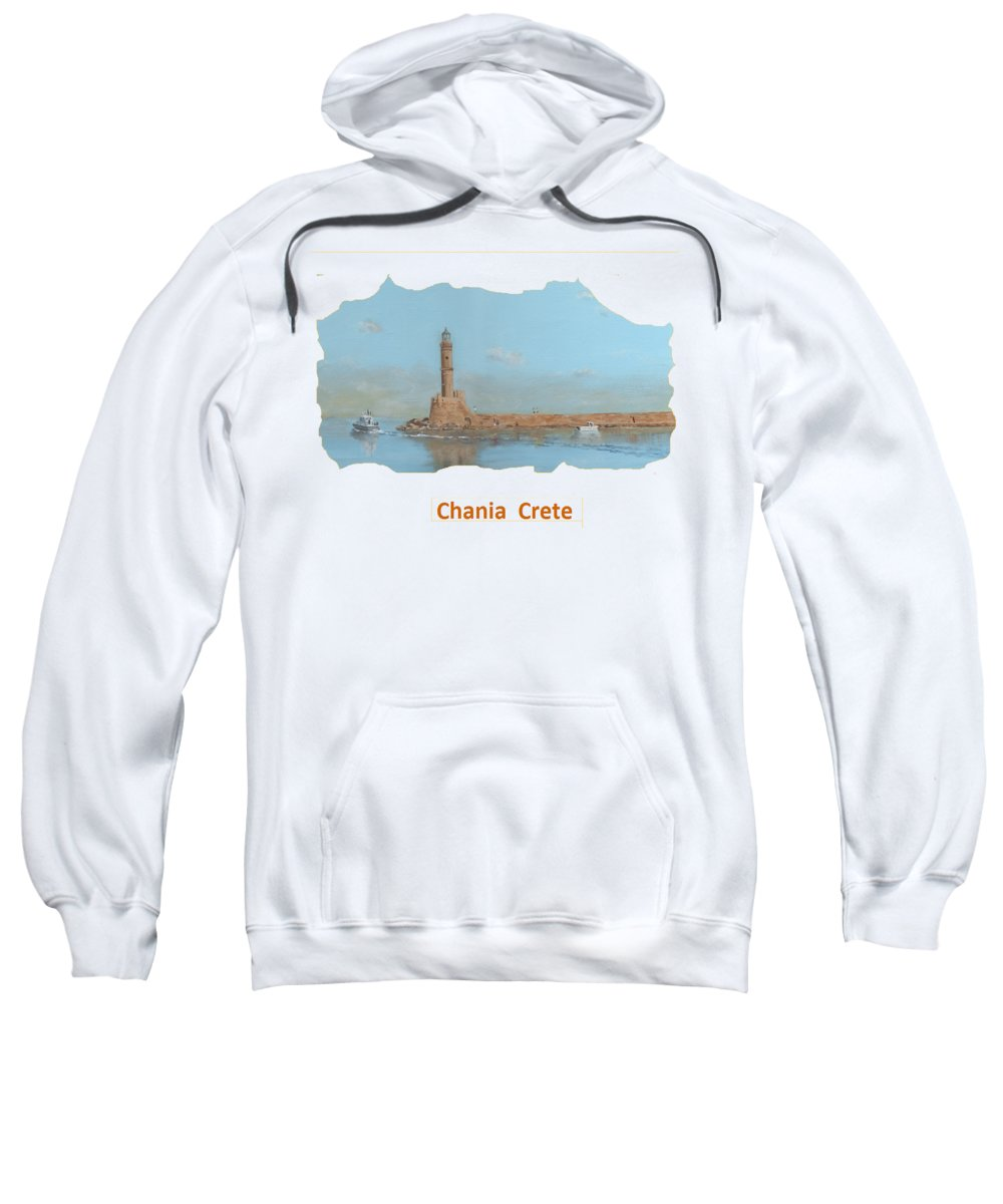 Chania Sweatshirt featuring the painting Chania Harbour T-shirt by David Capon
