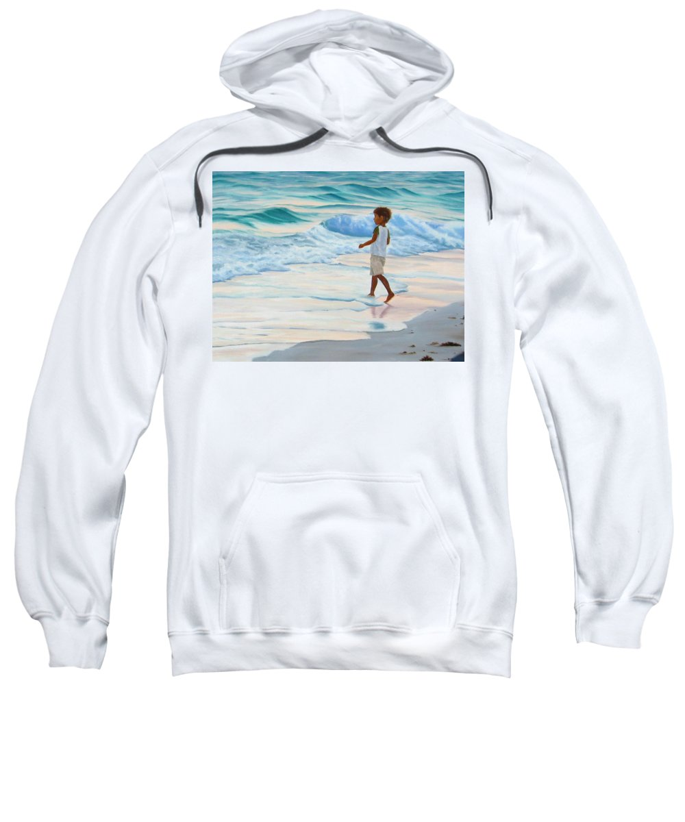 Child Sweatshirt featuring the painting Chasing The Waves by Lea Novak