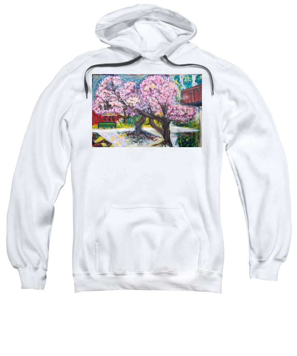 Cherry Tree Sweatshirt featuring the painting Cherry Blossom Time by Carolyn Donnell