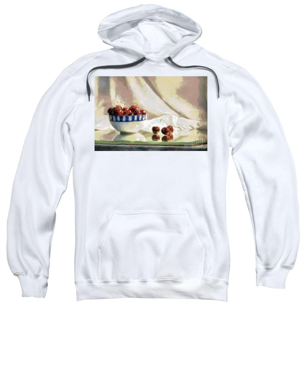 Digitally Sweatshirt featuring the photograph Cherry Still Life by Paulette B Wright