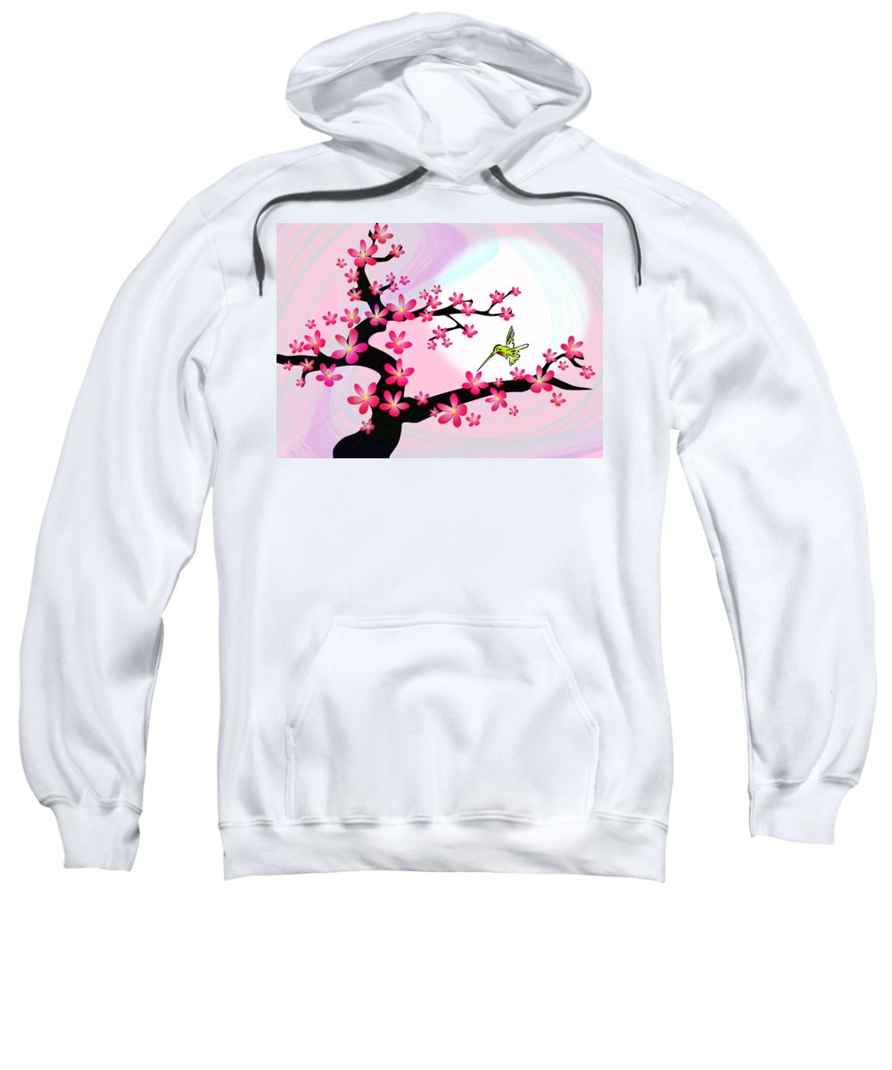 Cherry Sweatshirt featuring the digital art Cherry Tree by Anastasiya Malakhova