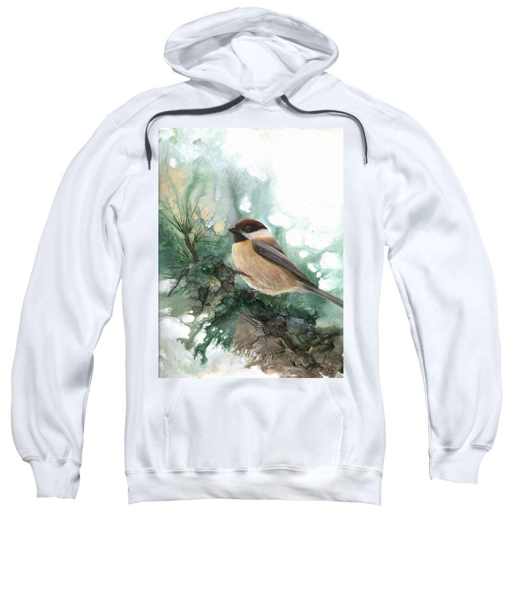 Bird Sweatshirt featuring the painting Chickadee by Sherry Shipley