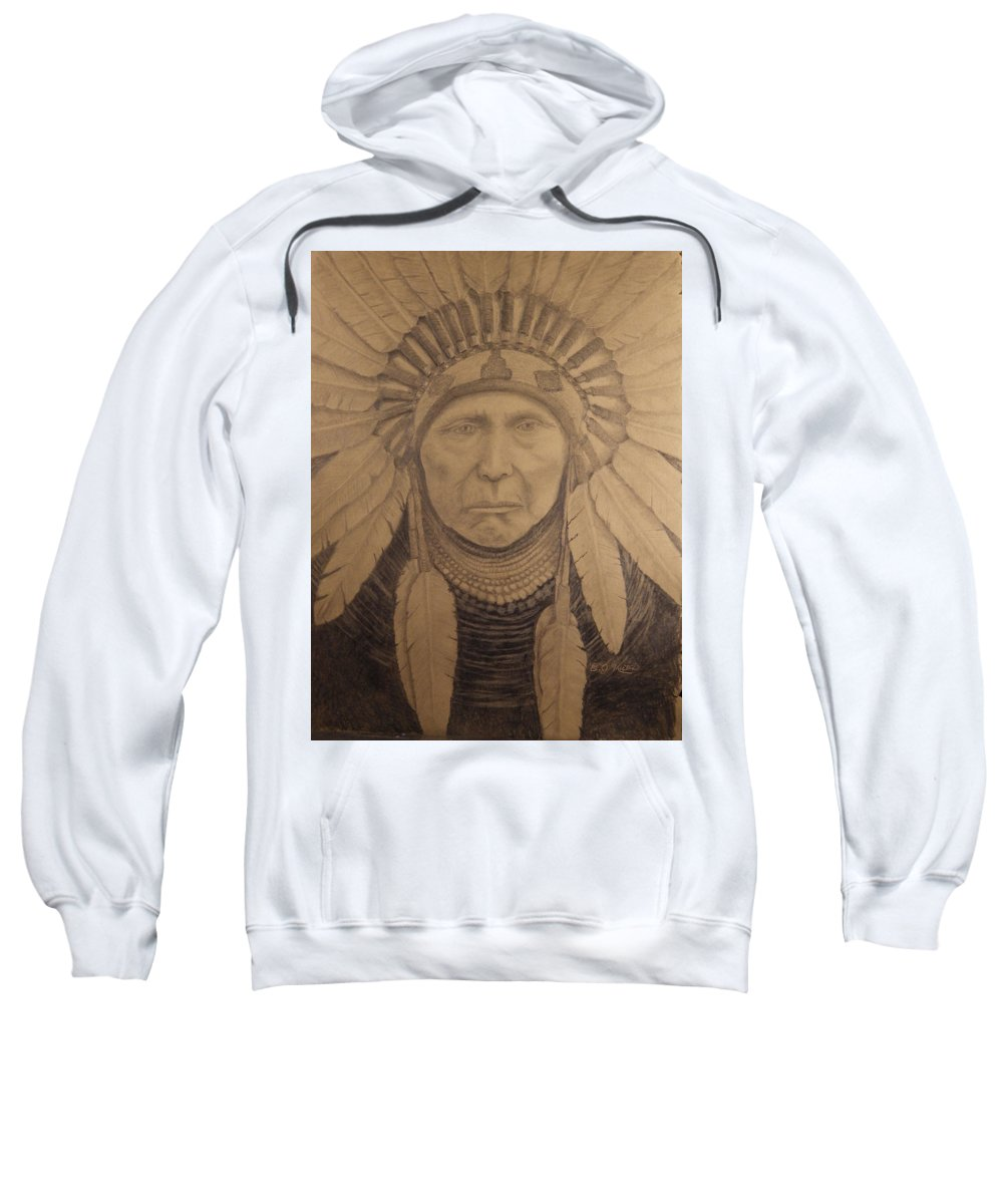 Chief Joseph Sweatshirt featuring the drawing Chief Joseph by Eric Kutac