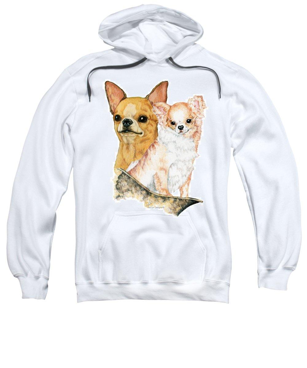Chihuahua Sweatshirt featuring the drawing Chihuahuas by Kathleen Sepulveda