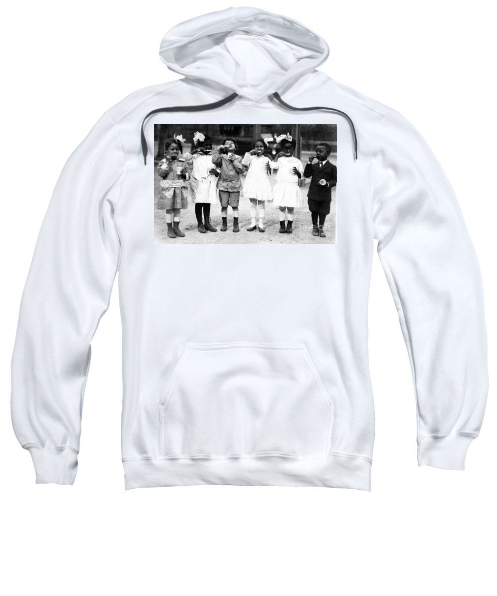 Brushing Sweatshirt featuring the photograph Children Brushing Teeth by Science Source