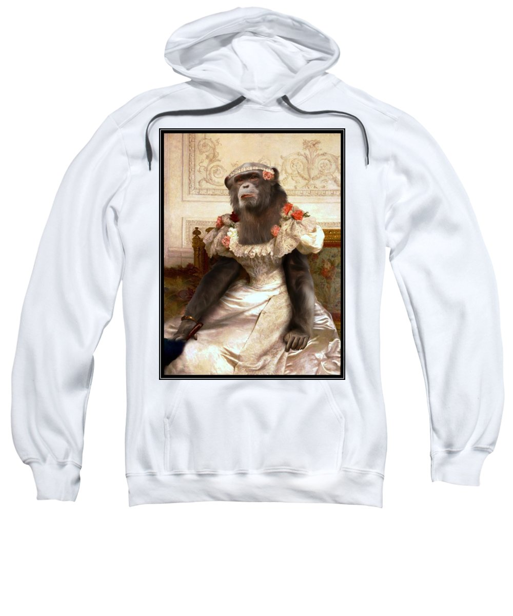Bouguereau Sweatshirt featuring the painting Chimp In Gown by Gravityx9 Designs