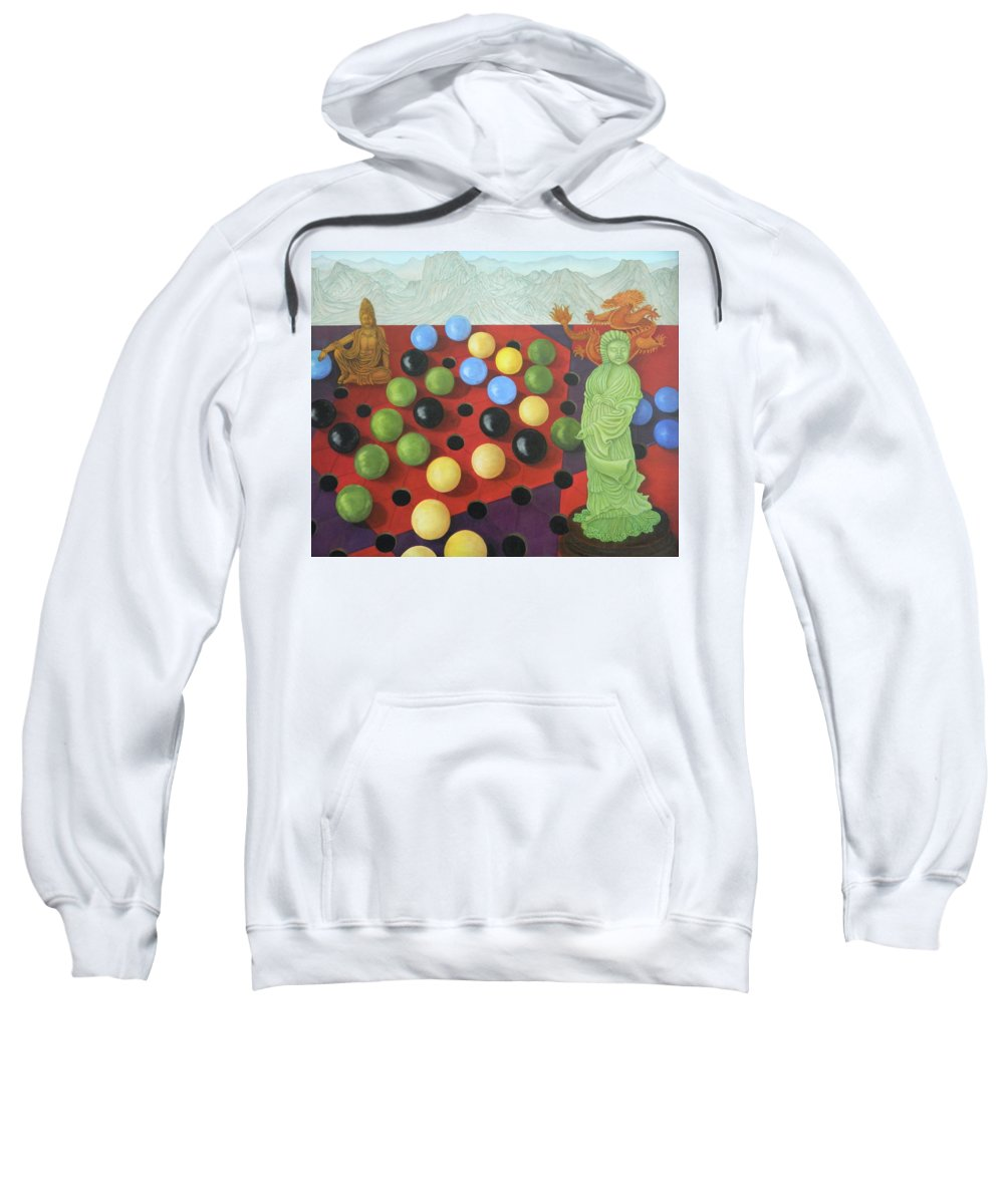 Checkers Sweatshirt featuring the painting Chinese Checkers by Marian Fox