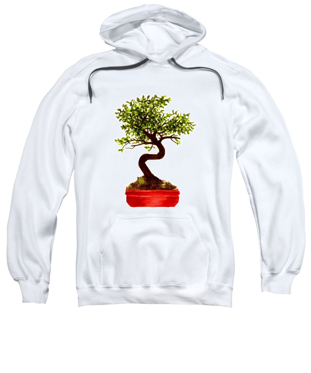 Tree Sweatshirt featuring the painting Chinese Elm Bonsai Tree by Michael Vigliotti