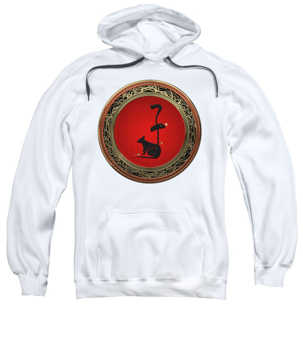 'zodiac' Collection By Serge Averbukh Sweatshirt featuring the digital art Chinese Zodiac - Year Of The Rat On White Leather by Serge Averbukh