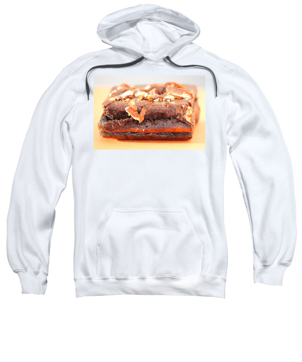 Brownie Sweatshirt featuring the photograph Chocolate Brownie With Nuts Dessert by Lee Serenethos