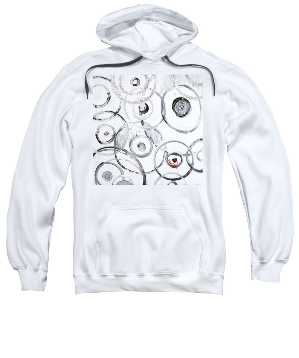 Circles Sweatshirt featuring the painting Choices In White by Nadine Rippelmeyer