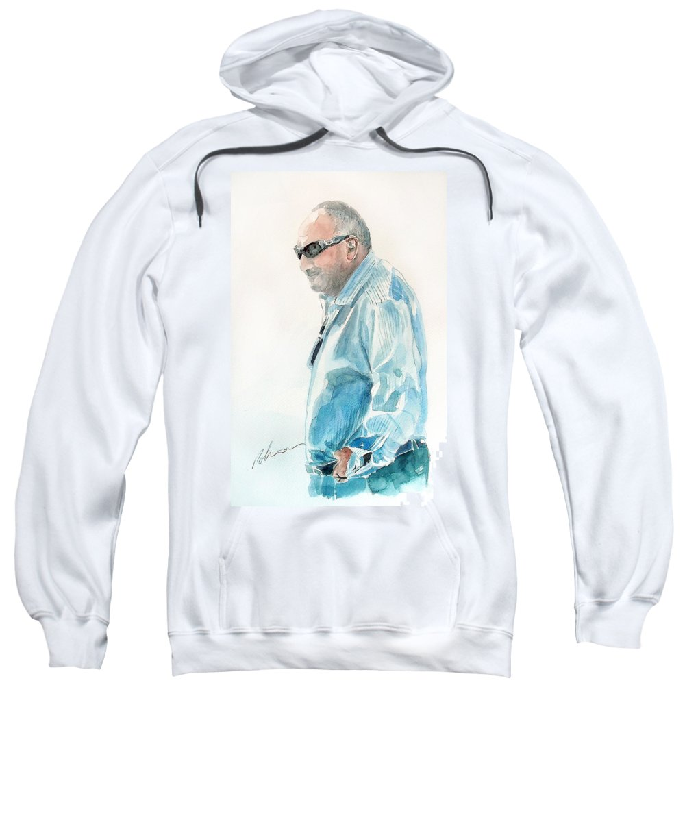 Chubby Chandler Sweatshirt featuring the painting Chubby Chandler Watercolor by Mark Robinson