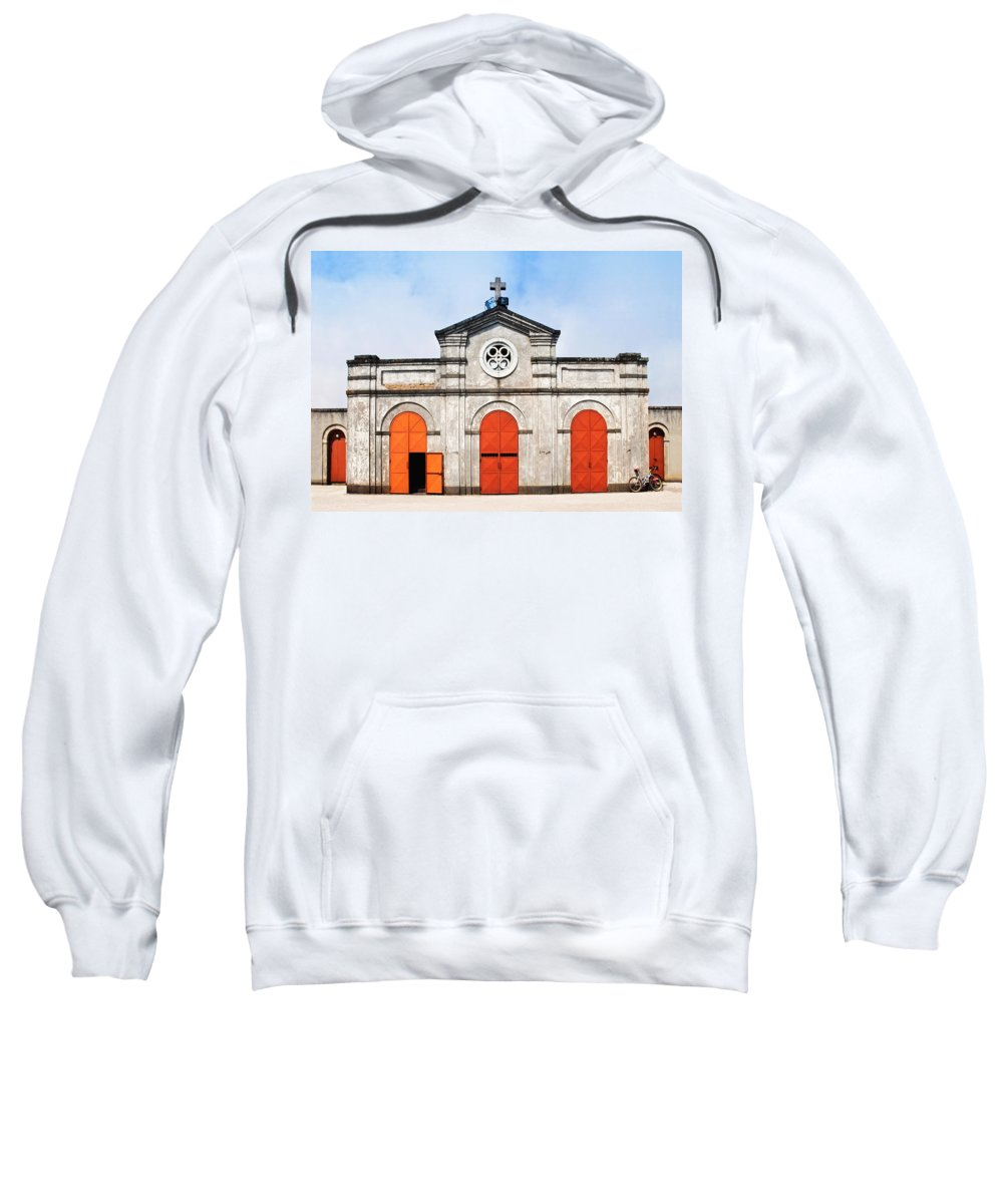 Church Sweatshirt featuring the photograph Church And Bicycle by Silvia Ganora