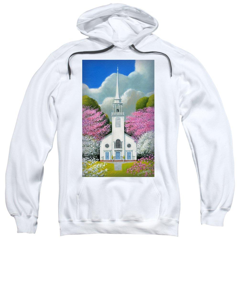 Deecken Sweatshirt featuring the painting Church Of The Dogwoods by John Deecken