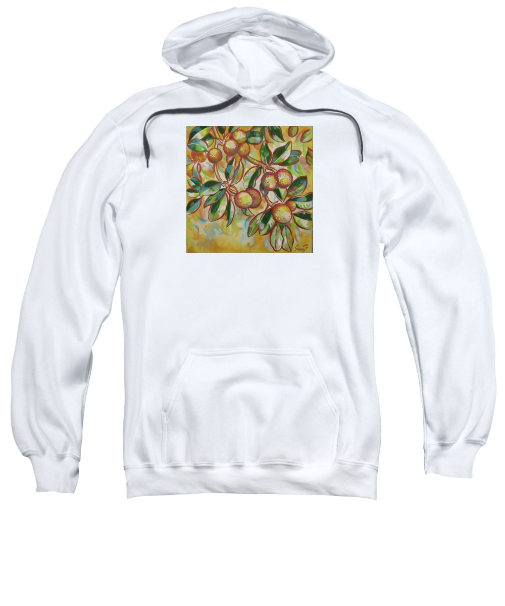 Ciku Fruits Sweatshirt featuring the painting Ciku by Sanae Yamada