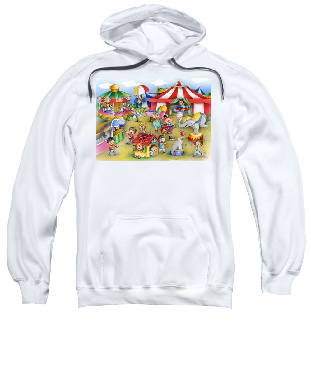 Circus Sweatshirt featuring the mixed media Circus In Town by Patrick Hoenderkamp