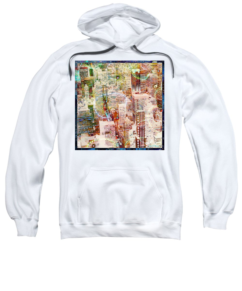 New York City Sweatshirt featuring the digital art City Snowstorm by Barbara Berney