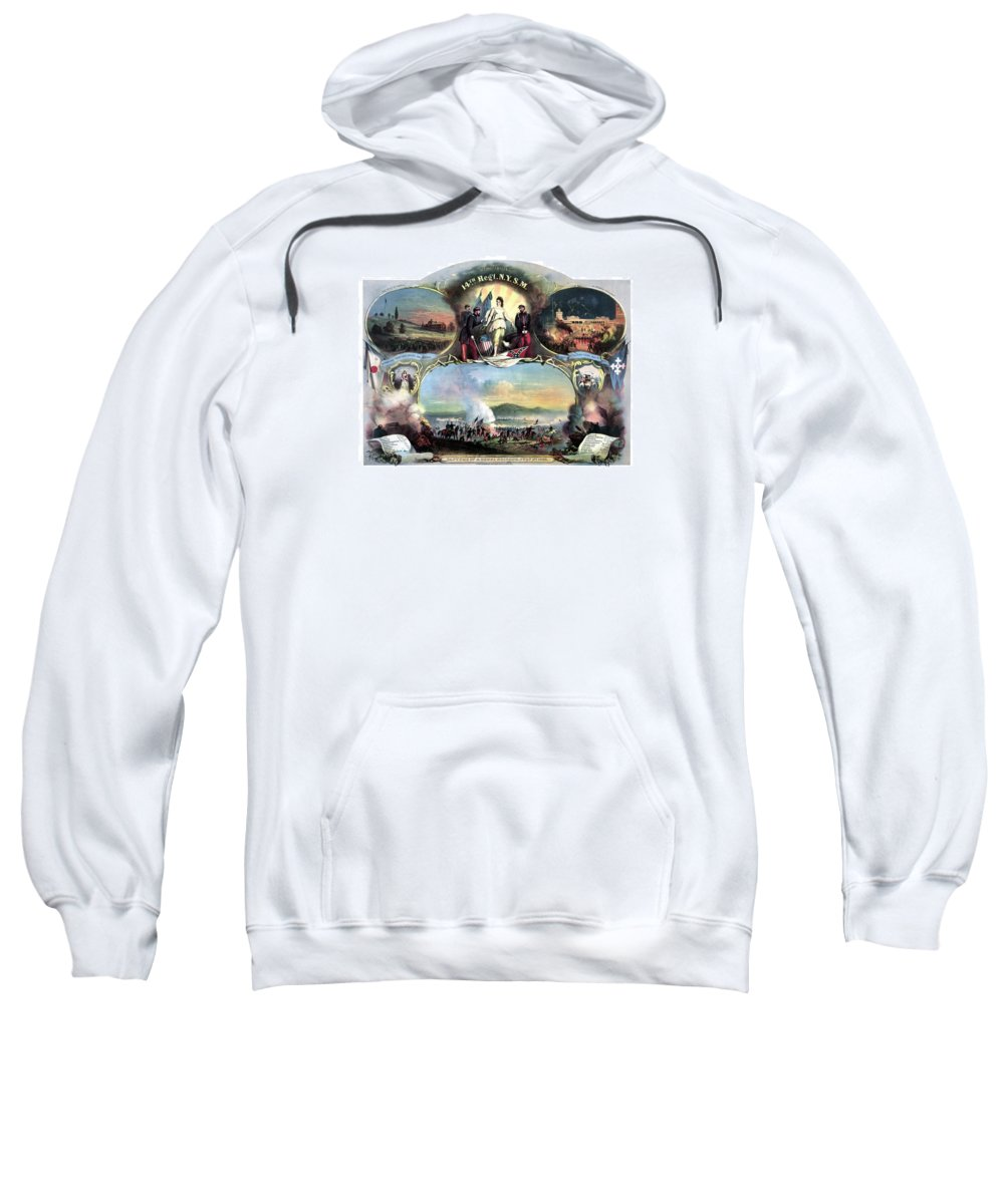 Civil War Sweatshirt featuring the painting Civil War 14th Regiment Memorial by War Is Hell Store
