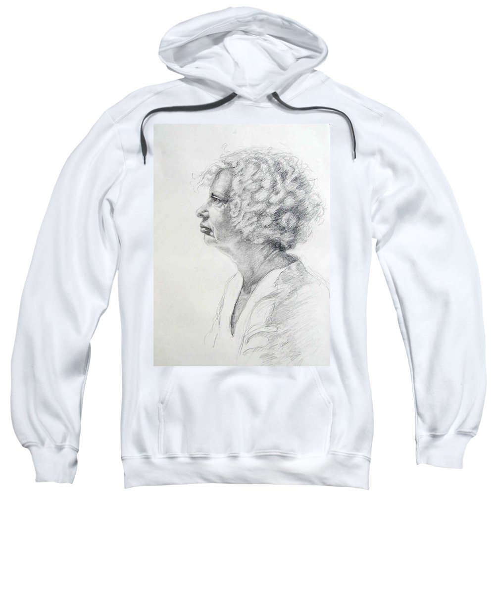 Portrait Sweatshirt featuring the drawing Claire by Laurie Paci