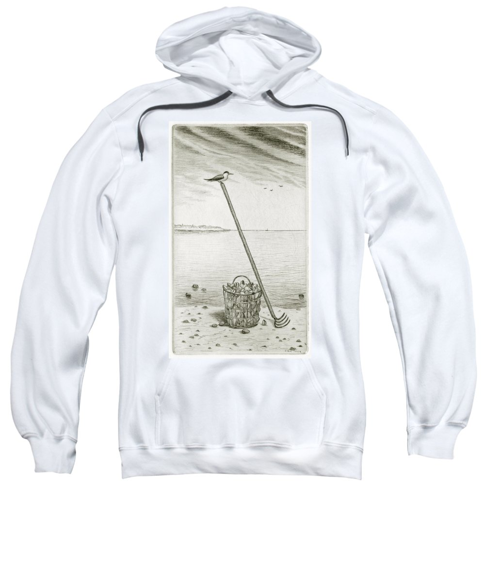 Charles Harden Sweatshirt featuring the drawing Clamming by Charles Harden