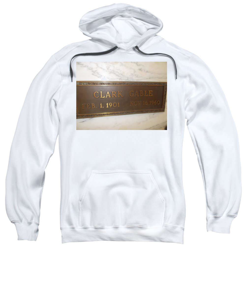 Clark Gable Forest Lawn Clark Gable Final Resting Place Sweatshirt featuring the photograph Clark Gable by Dawn Wirth