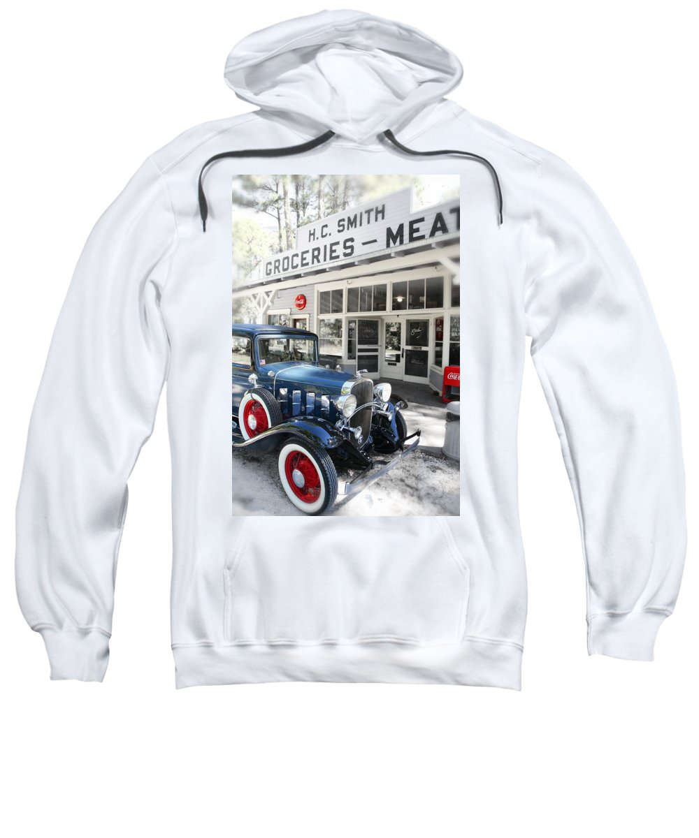 Chevy Sweatshirt featuring the photograph Classic Chevrolet Automobile Parked Outside The Store by Mal Bray