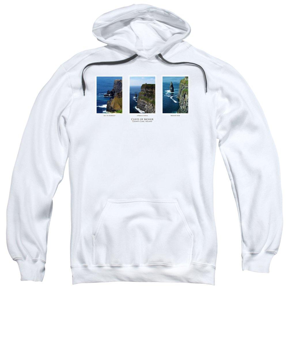Irish Sweatshirt featuring the photograph Cliffs Of Moher Ireland Triptych by Teresa Mucha