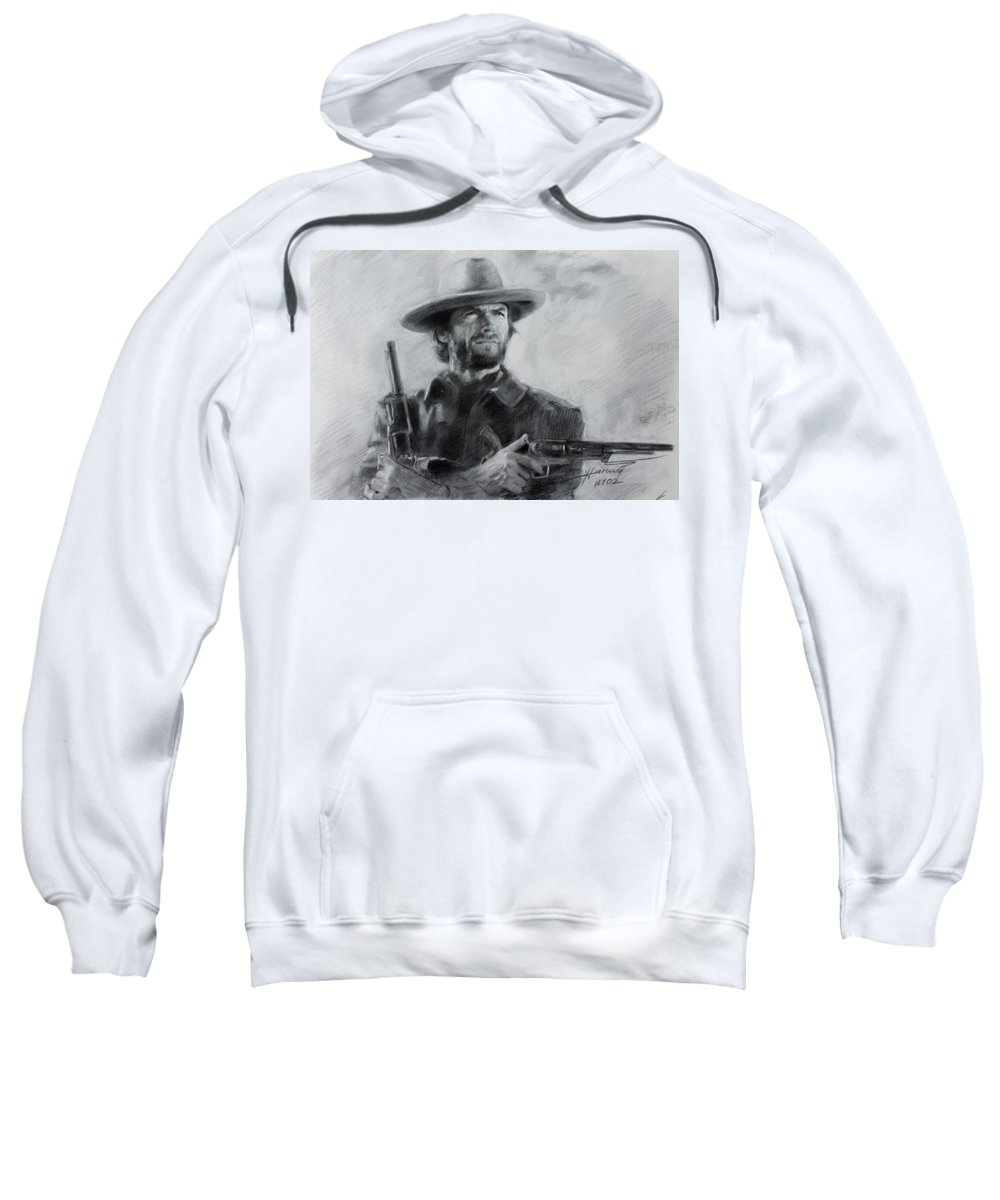 Clint Eastwood Sweatshirt featuring the drawing Clint Eastwood by Viola El