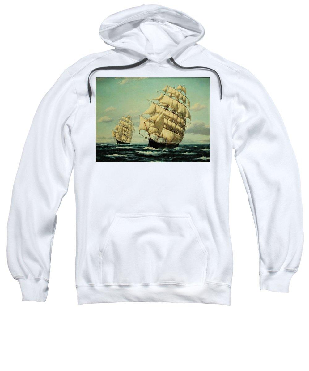 Sailing Ships Sweatshirt featuring the painting Clipper Ships Racing To Port by Zohrab Kemkemian