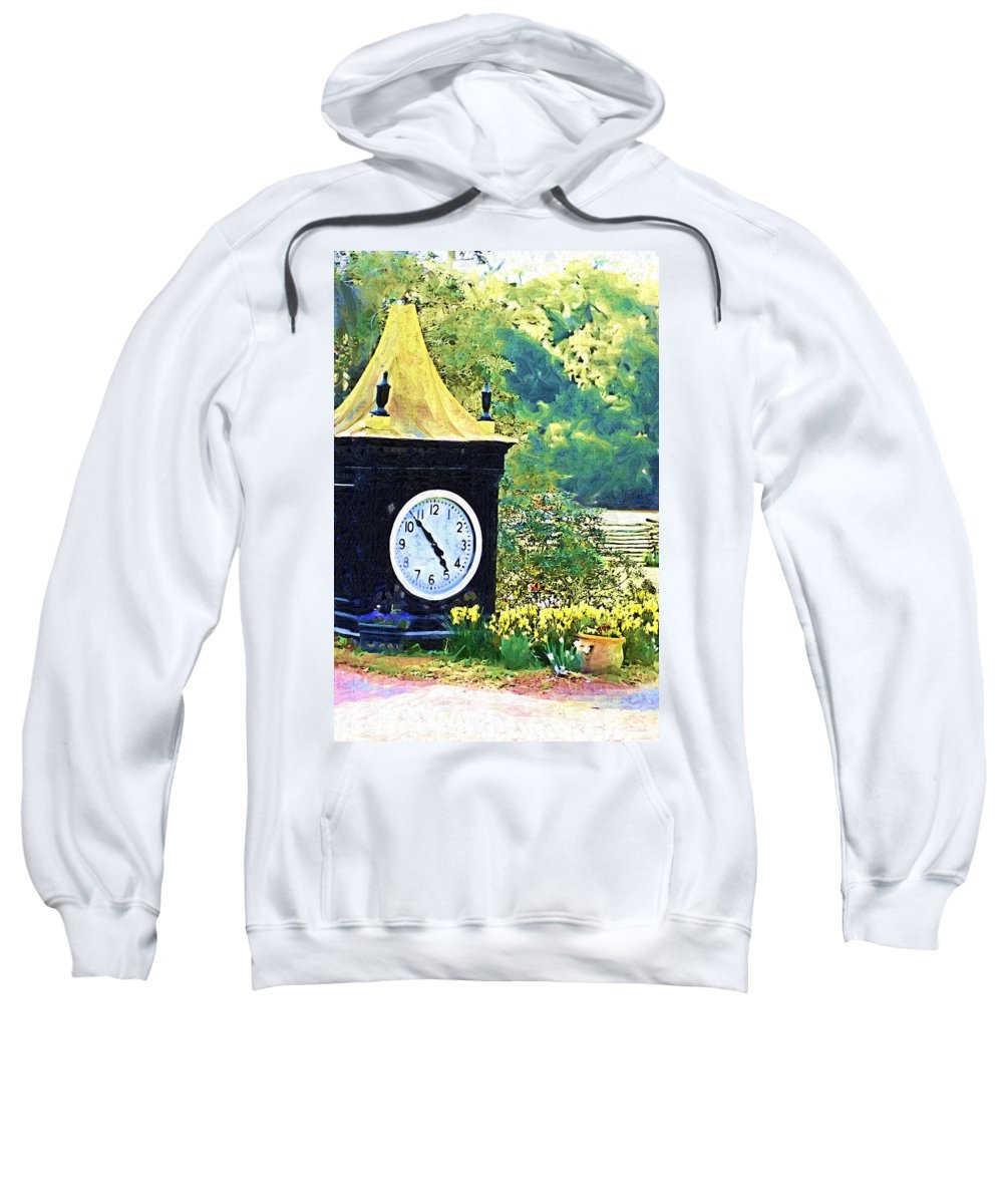 Clock Sweatshirt featuring the photograph Clock Tower In The Garden by Donna Bentley