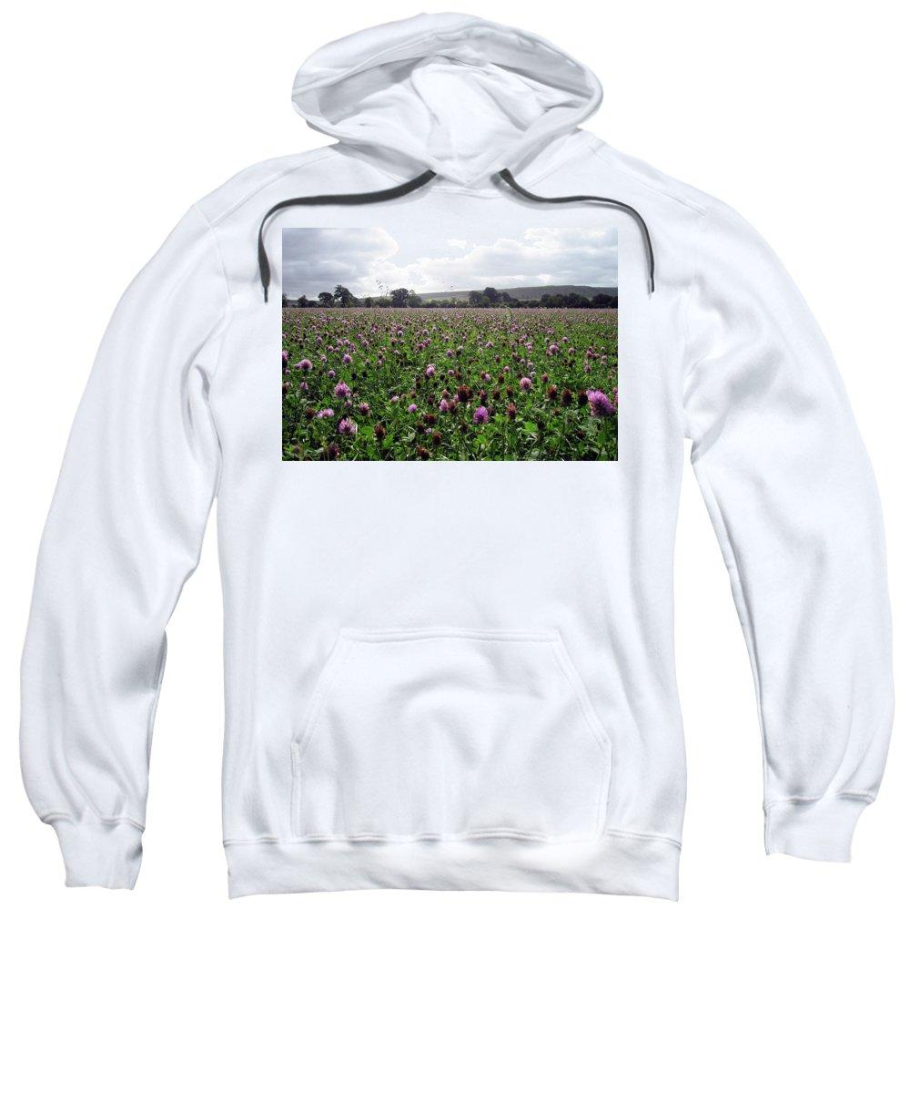 Flowers Sweatshirt featuring the photograph Clover Field Wiltshire England by Kurt Van Wagner