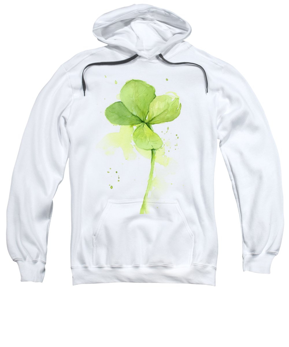 Clover Sweatshirt featuring the painting Clover Watercolor by Olga Shvartsur
